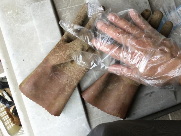 100円ビニール手袋を2枚重ね