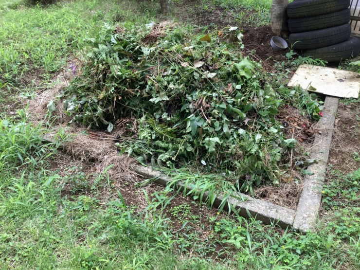 家の裏の草を抜いたものを積み上げた光景